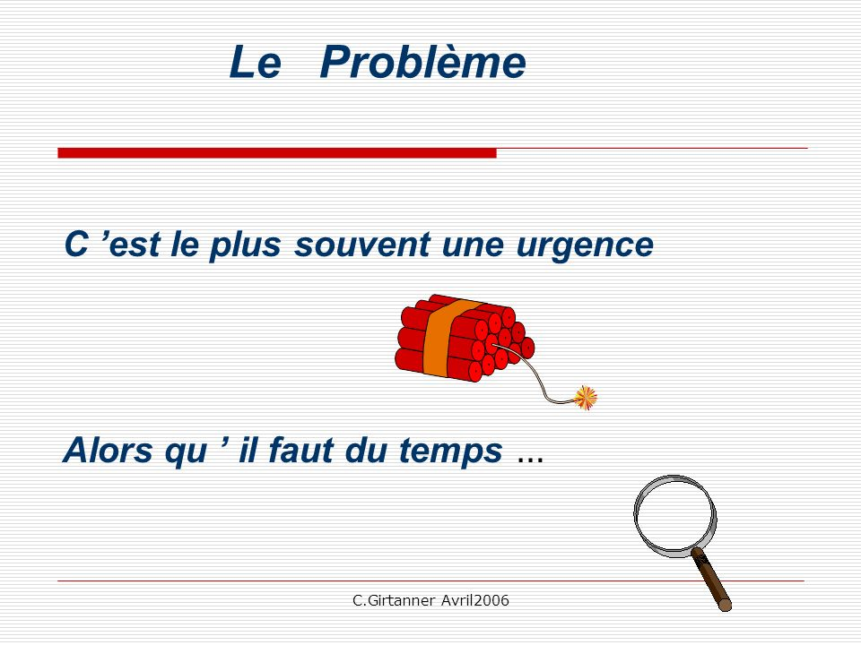 C.Girtanner Avril2006 Le Problème C est le plus souvent une urgence Alors qu il faut du temps … pour s en sortir la première chose: l évaluation