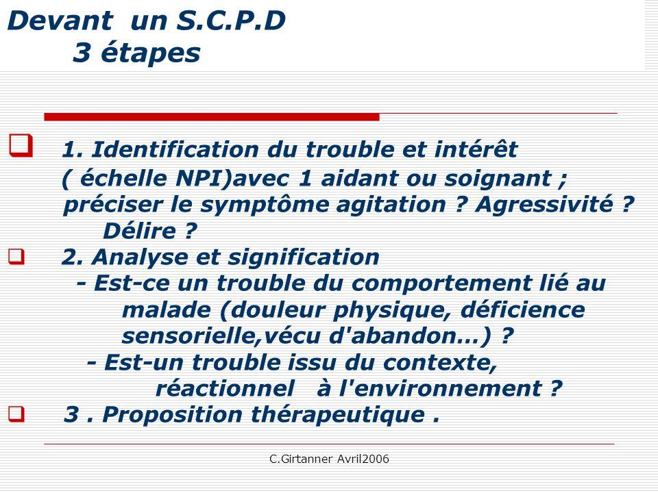 C.Girtanner Avril2006 Devant un S.C.P.D 3 étapes 1. Identification du trouble et intérêt ( échelle NPI)avec 1 aidant ou soignant ; préciser le symptôm
