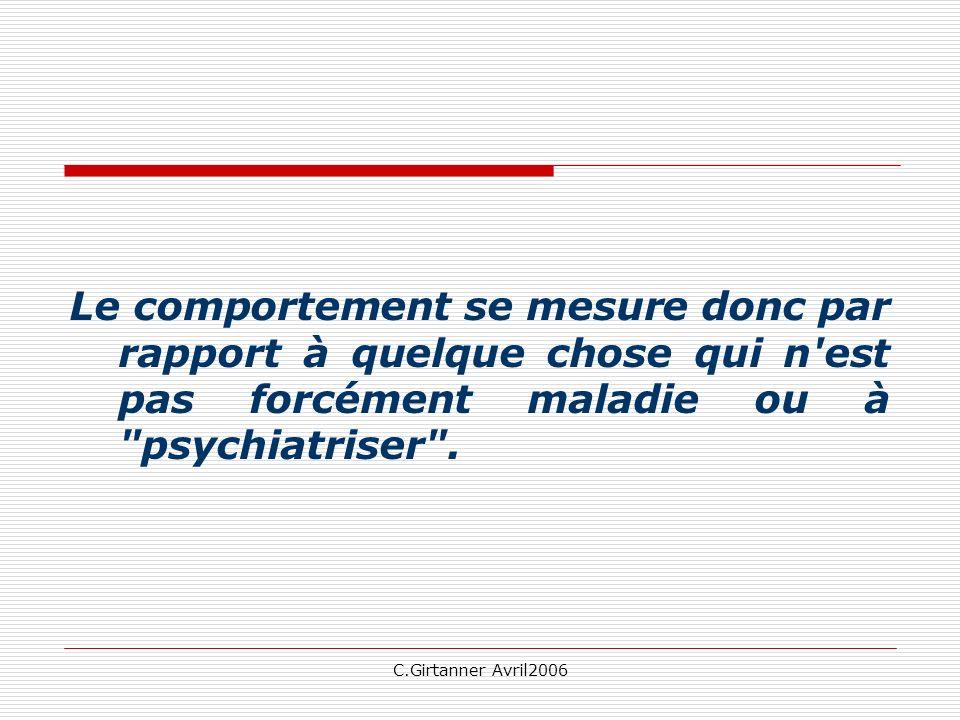 C.Girtanner Avril2006 Conclusions « Se poser des questions reste essentiel car cela reste la seule possibilité de se tourner vers lhistoire du Patient,voir ce qui lui manque et éprouver le besoin de mieux le connaître.