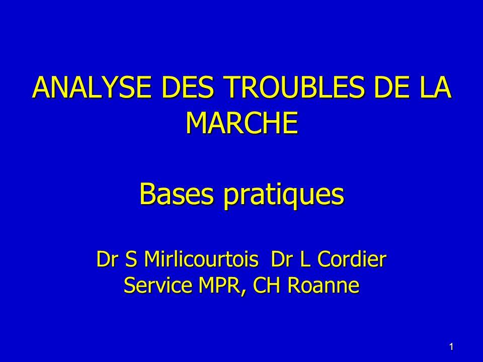 ANALYSE DES TROUBLES DE LA MARCHE Bases pratiques Dr S Mirlicourtois Dr L Cordier Service MPR, CH Roanne 1