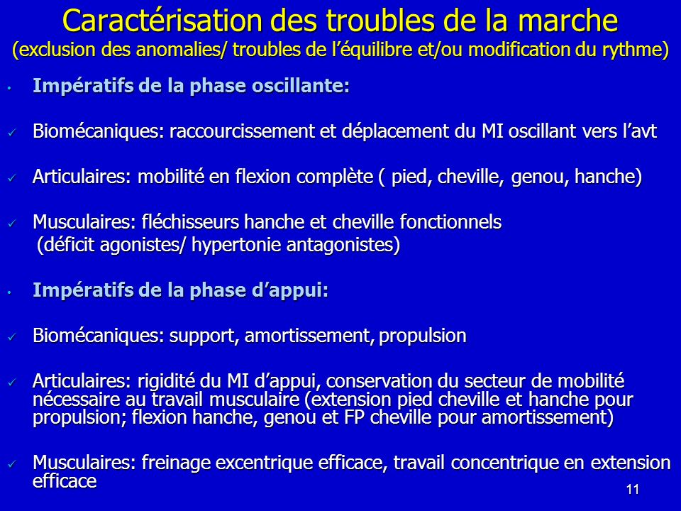 Caractérisation des troubles de la marche (exclusion des anomalies/ troubles de léquilibre et/ou modification du rythme) Impératifs de la phase oscill
