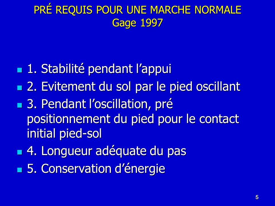 PRÉ REQUIS POUR UNE MARCHE NORMALE Gage 1997 1. Stabilité pendant lappui 1. Stabilité pendant lappui 2. Evitement du sol par le pied oscillant 2. Evit