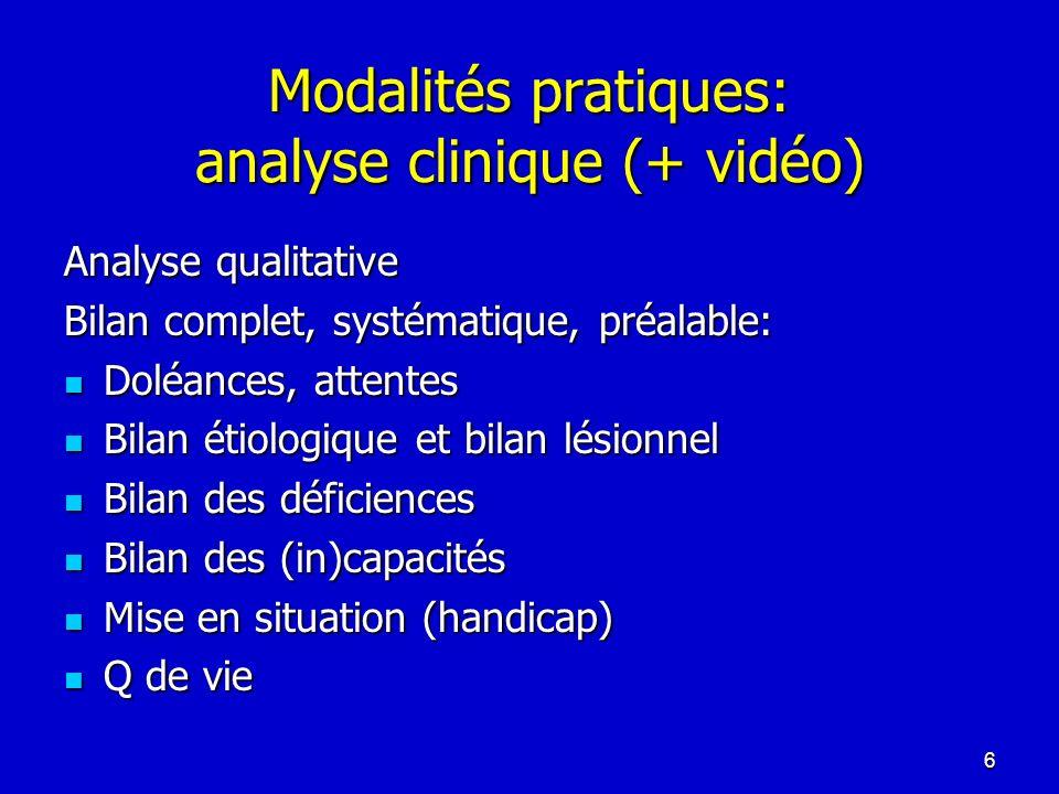 Modalités pratiques: analyse clinique (+ vidéo) Analyse qualitative Bilan complet, systématique, préalable: Doléances, attentes Doléances, attentes Bi
