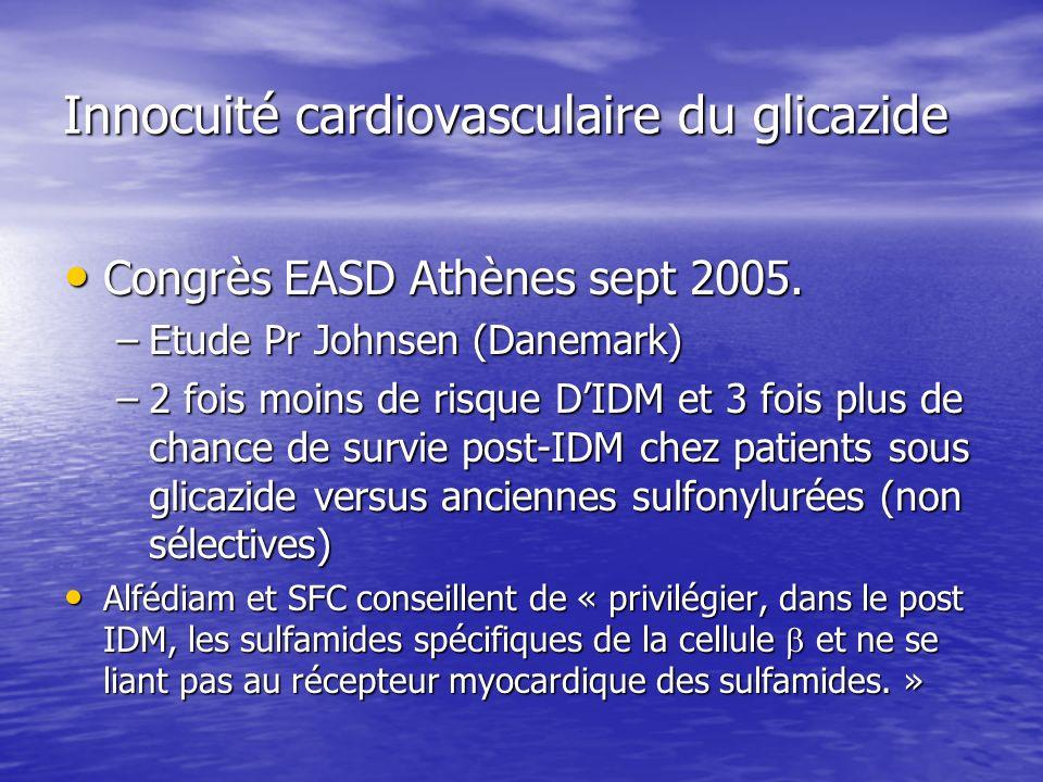 Innocuité cardiovasculaire du glicazide Congrès EASD Athènes sept 2005. Congrès EASD Athènes sept 2005. –Etude Pr Johnsen (Danemark) –2 fois moins de