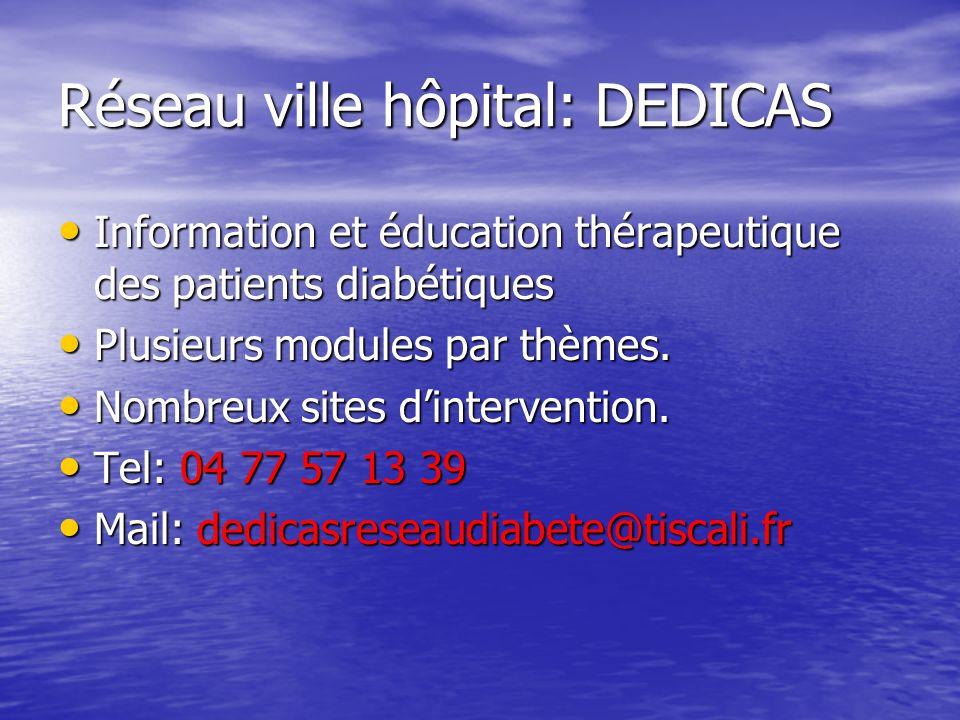 Réseau ville hôpital: DEDICAS Information et éducation thérapeutique des patients diabétiques Information et éducation thérapeutique des patients diab