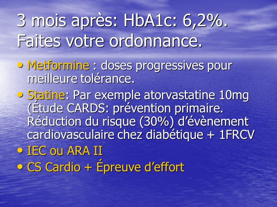 3 mois après: HbA1c: 6,2%. Faites votre ordonnance. Metformine : doses progressives pour meilleure tolérance. Metformine : doses progressives pour mei