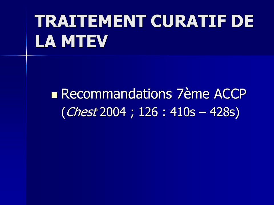 TRAITEMENT CURATIF DE LA MTEV Recommandations 7ème ACCP Recommandations 7ème ACCP (Chest 2004 ; 126 : 410s – 428s)