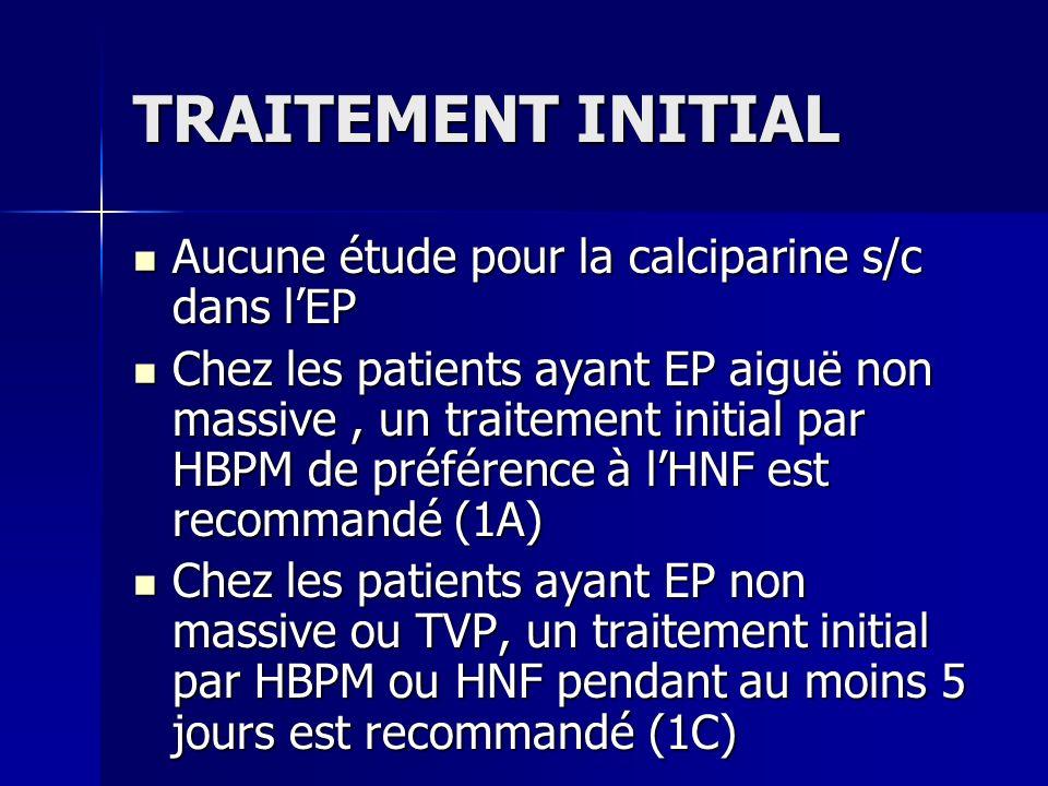 TRAITEMENT INITIAL Aucune étude pour la calciparine s/c dans lEP Aucune étude pour la calciparine s/c dans lEP Chez les patients ayant EP aiguë non ma