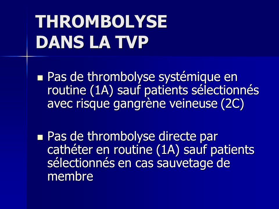 THROMBOLYSE DANS LA TVP Pas de thrombolyse systémique en routine (1A) sauf patients sélectionnés avec risque gangrène veineuse (2C) Pas de thrombolyse