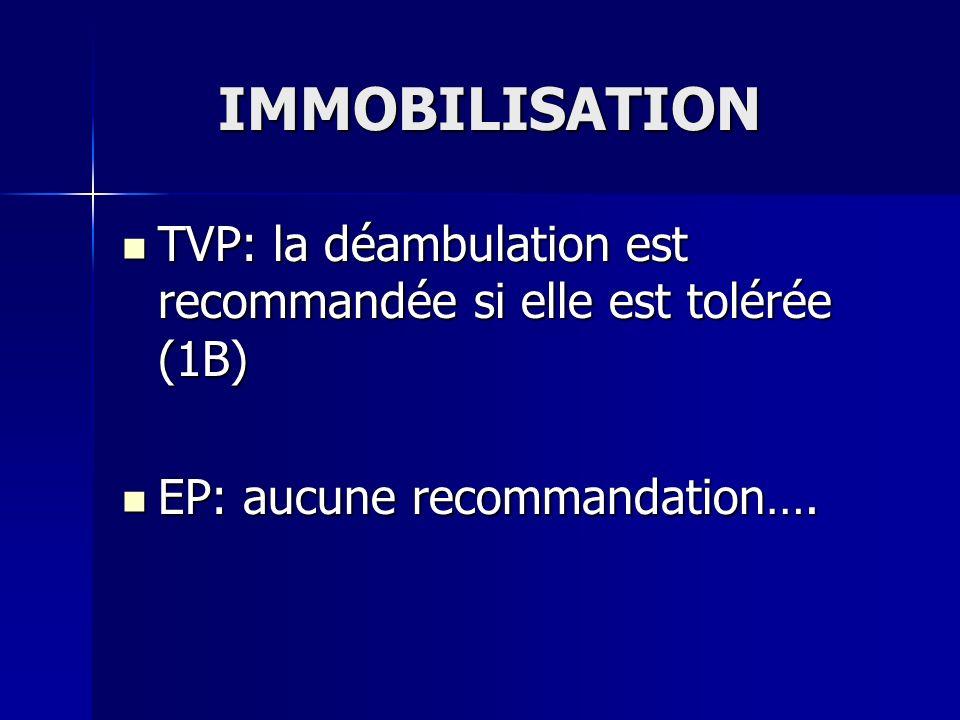 IMMOBILISATION TVP: la déambulation est recommandée si elle est tolérée (1B) TVP: la déambulation est recommandée si elle est tolérée (1B) EP: aucune