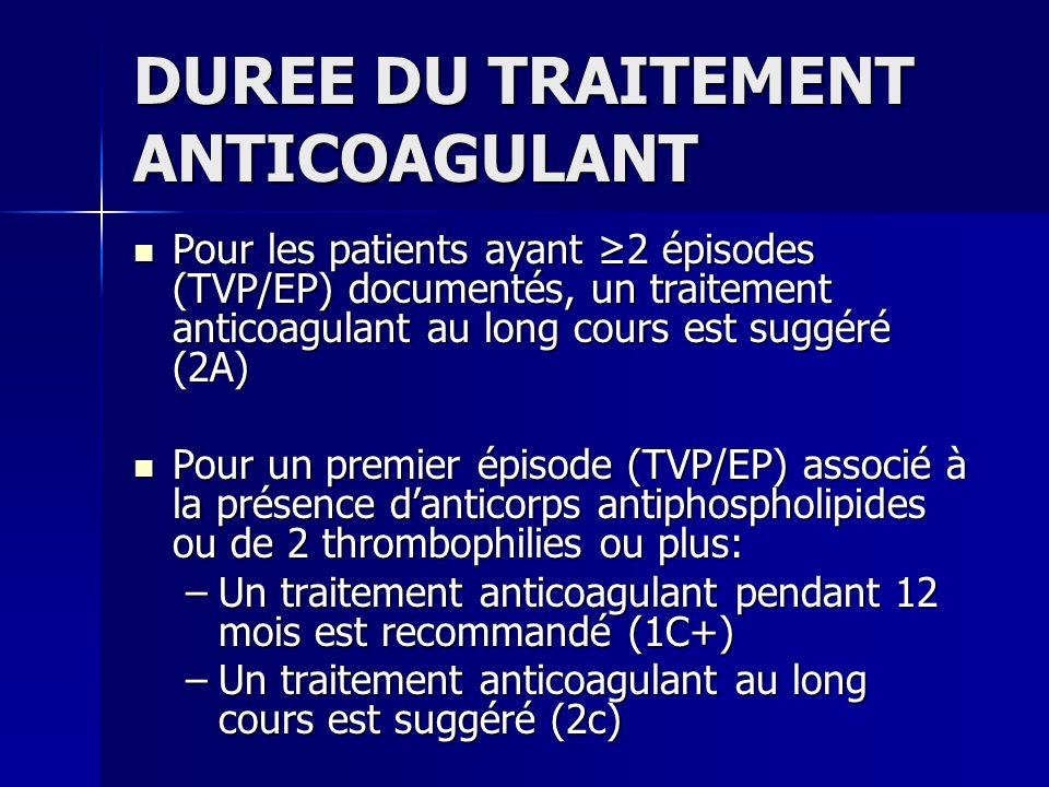 DUREE DU TRAITEMENT ANTICOAGULANT Pour les patients ayant 2 épisodes (TVP/EP) documentés, un traitement anticoagulant au long cours est suggéré (2A) P