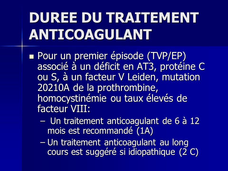 DUREE DU TRAITEMENT ANTICOAGULANT Pour un premier épisode (TVP/EP) associé à un déficit en AT3, protéine C ou S, à un facteur V Leiden, mutation 20210