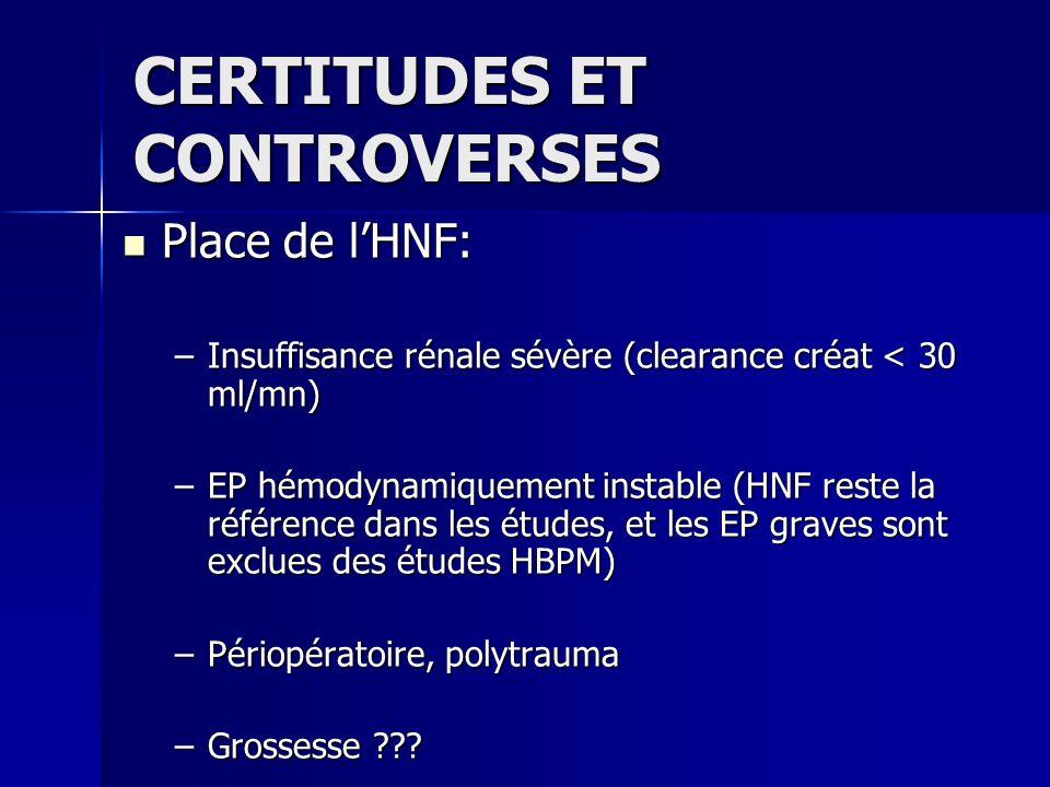 Place de lHNF: Place de lHNF: –Insuffisance rénale sévère (clearance créat < 30 ml/mn) –EP hémodynamiquement instable (HNF reste la référence dans les