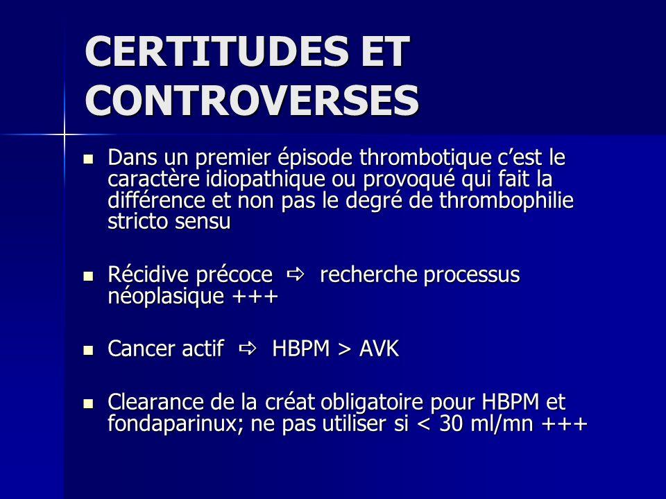 CERTITUDES ET CONTROVERSES Dans un premier épisode thrombotique cest le caractère idiopathique ou provoqué qui fait la différence et non pas le degré