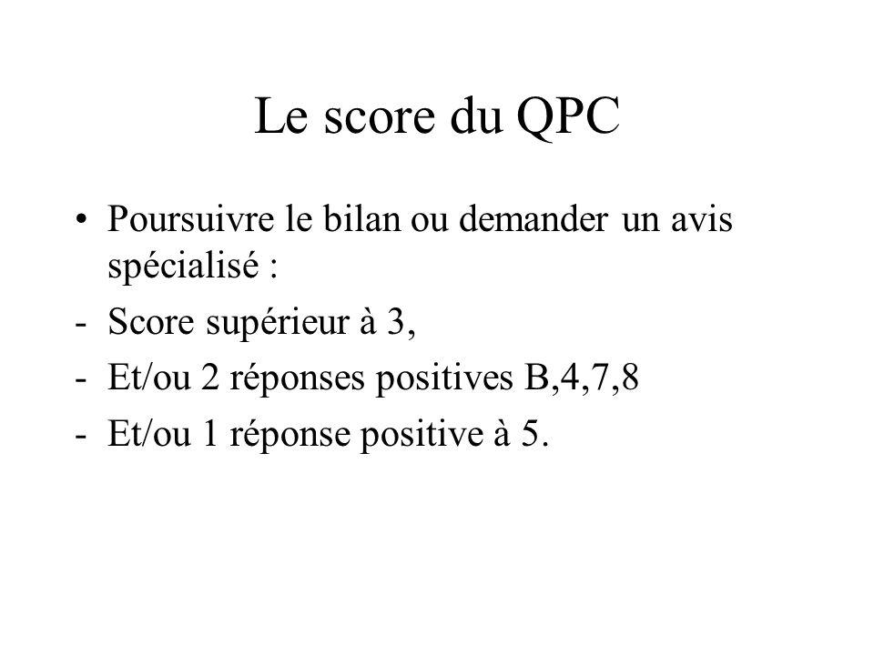 Le score du QPC Poursuivre le bilan ou demander un avis spécialisé : -Score supérieur à 3, -Et/ou 2 réponses positives B,4,7,8 -Et/ou 1 réponse positi