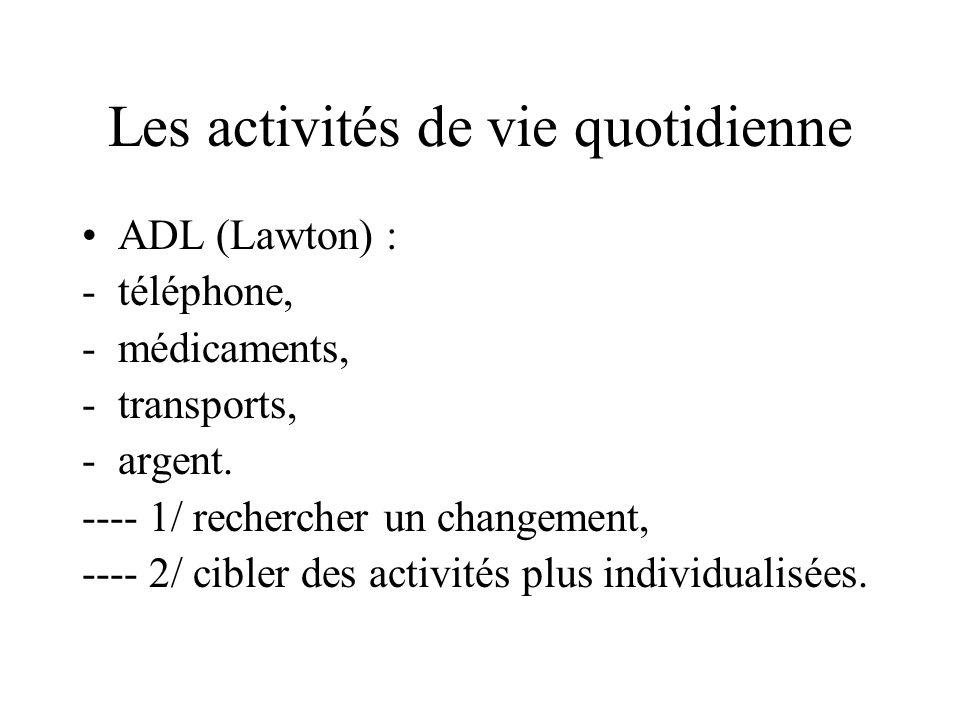 Les activités de vie quotidienne ADL (Lawton) : -téléphone, -médicaments, -transports, -argent. ---- 1/ rechercher un changement, ---- 2/ cibler des a