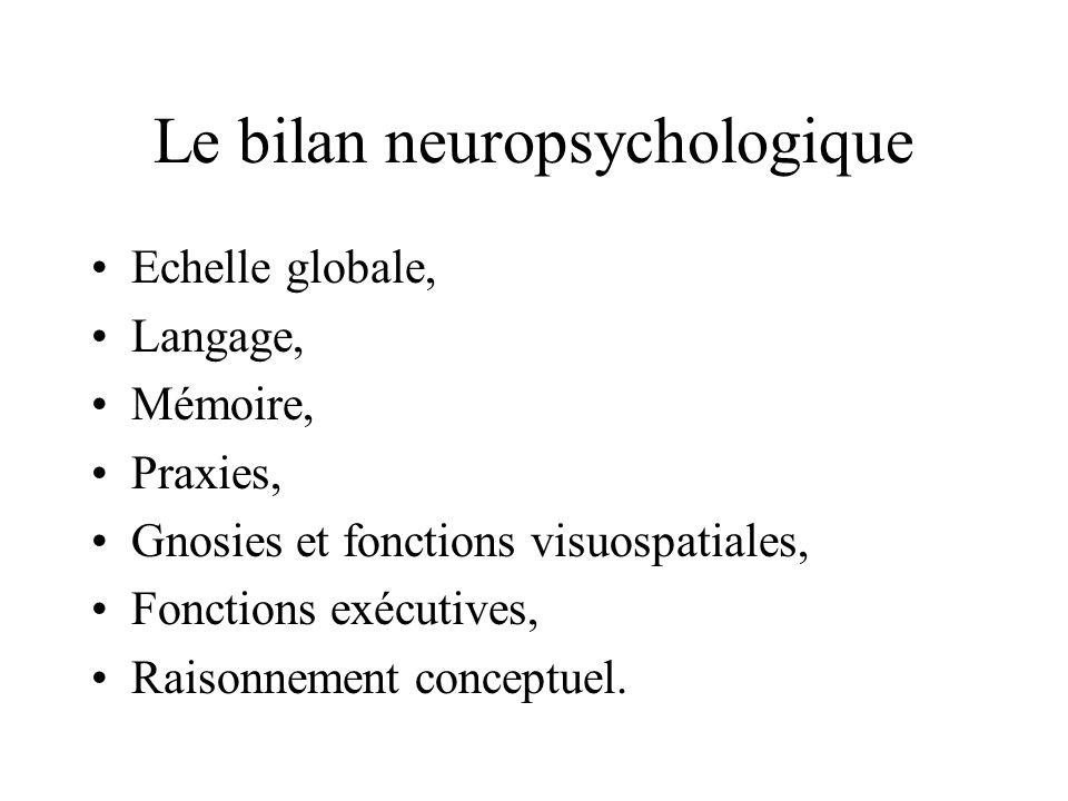 Le bilan neuropsychologique Echelle globale, Langage, Mémoire, Praxies, Gnosies et fonctions visuospatiales, Fonctions exécutives, Raisonnement concep