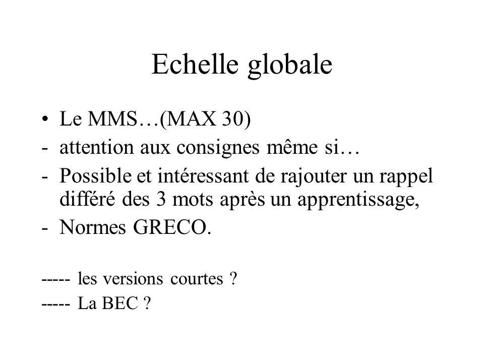 Echelle globale Le MMS…(MAX 30) -attention aux consignes même si… -Possible et intéressant de rajouter un rappel différé des 3 mots après un apprentis
