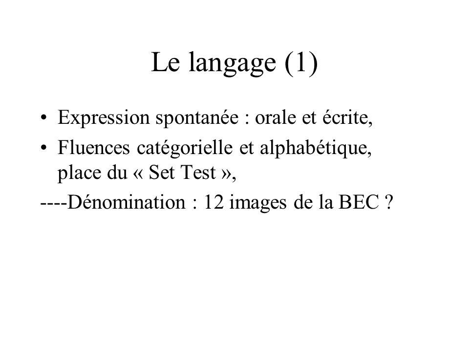 Le langage (1) Expression spontanée : orale et écrite, Fluences catégorielle et alphabétique, place du « Set Test », ----Dénomination : 12 images de l