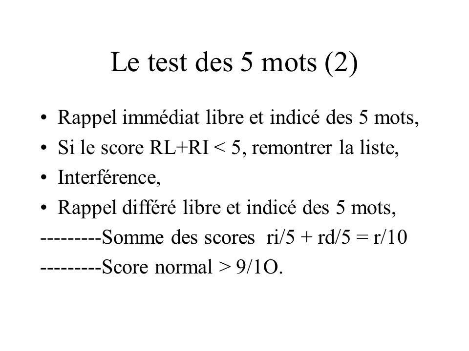 Le test des 5 mots (2) Rappel immédiat libre et indicé des 5 mots, Si le score RL+RI < 5, remontrer la liste, Interférence, Rappel différé libre et in