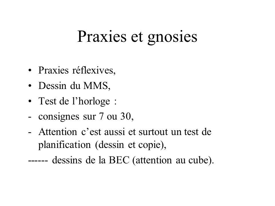 Praxies et gnosies Praxies réflexives, Dessin du MMS, Test de lhorloge : -consignes sur 7 ou 30, -Attention cest aussi et surtout un test de planifica
