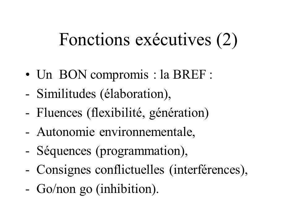 Fonctions exécutives (2) Un BON compromis : la BREF : -Similitudes (élaboration), -Fluences (flexibilité, génération) -Autonomie environnementale, -Sé