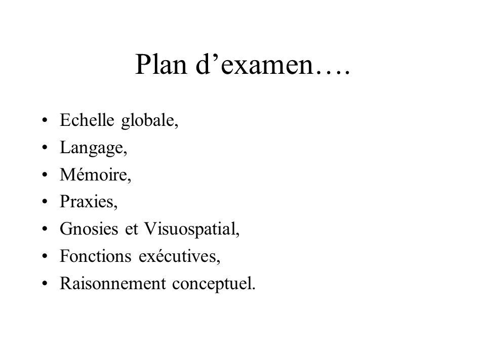 Plan dexamen…. Echelle globale, Langage, Mémoire, Praxies, Gnosies et Visuospatial, Fonctions exécutives, Raisonnement conceptuel.