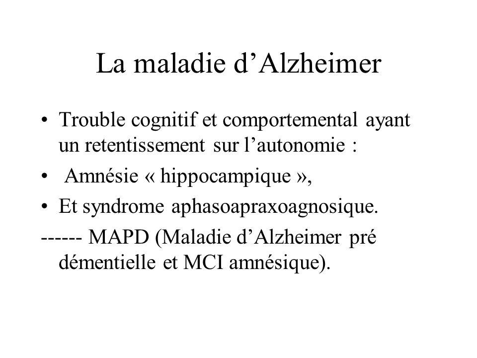 La maladie dAlzheimer Trouble cognitif et comportemental ayant un retentissement sur lautonomie : Amnésie « hippocampique », Et syndrome aphasoapraxoa