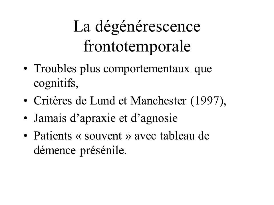 La dégénérescence frontotemporale Troubles plus comportementaux que cognitifs, Critères de Lund et Manchester (1997), Jamais dapraxie et dagnosie Pati