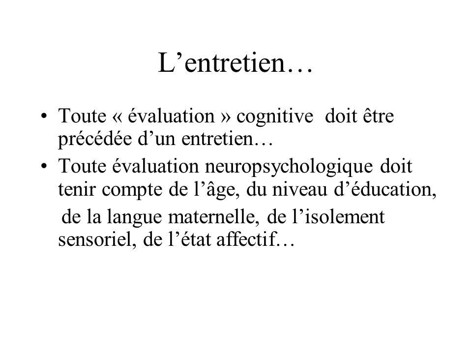Lentretien… Toute « évaluation » cognitive doit être précédée dun entretien… Toute évaluation neuropsychologique doit tenir compte de lâge, du niveau