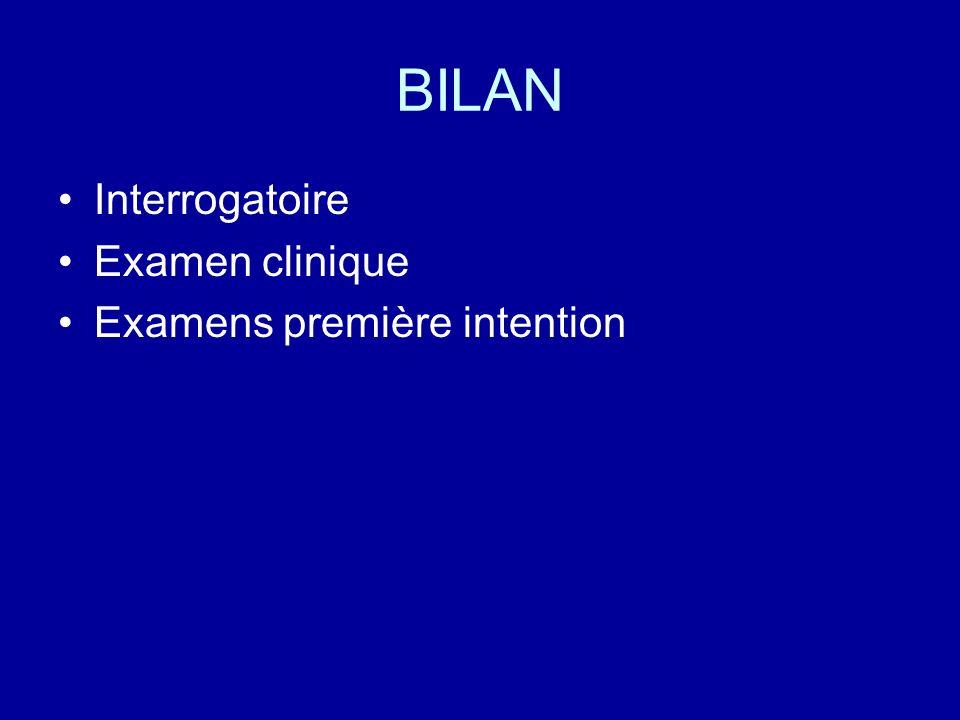 BILAN Interrogatoire Examen clinique Examens première intention