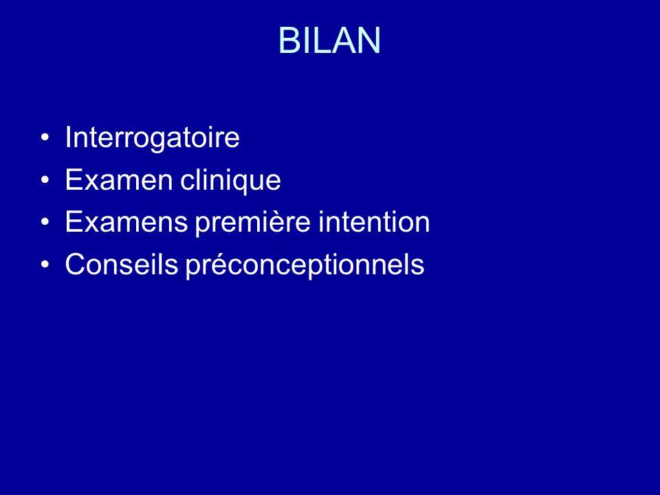 BILAN Interrogatoire Examen clinique Examens première intention Conseils préconceptionnels
