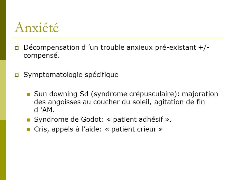 Anxiété Décompensation d un trouble anxieux pré-existant +/- compensé. Symptomatologie spécifique Sun downing Sd (syndrome crépusculaire): majoration