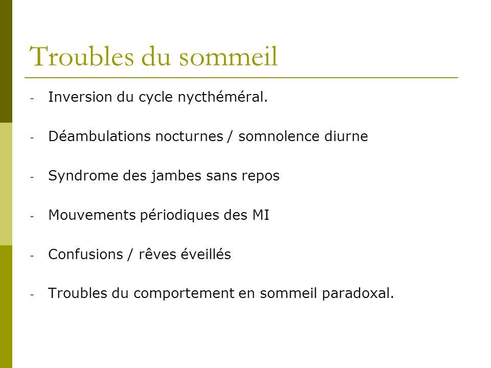 Troubles du sommeil - Inversion du cycle nycthéméral. - Déambulations nocturnes / somnolence diurne - Syndrome des jambes sans repos - Mouvements péri