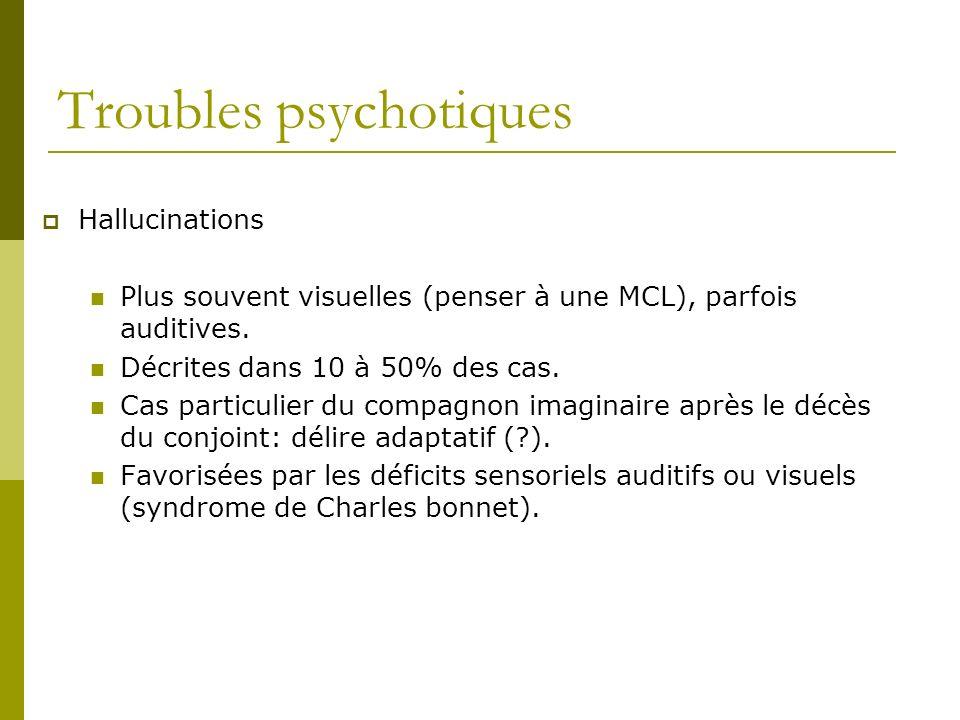 Troubles psychotiques Hallucinations Plus souvent visuelles (penser à une MCL), parfois auditives. Décrites dans 10 à 50% des cas. Cas particulier du