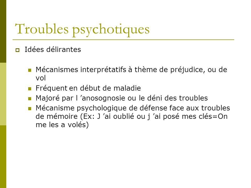 Troubles psychotiques Idées délirantes Mécanismes interprétatifs à thème de préjudice, ou de vol Fréquent en début de maladie Majoré par l anosognosie