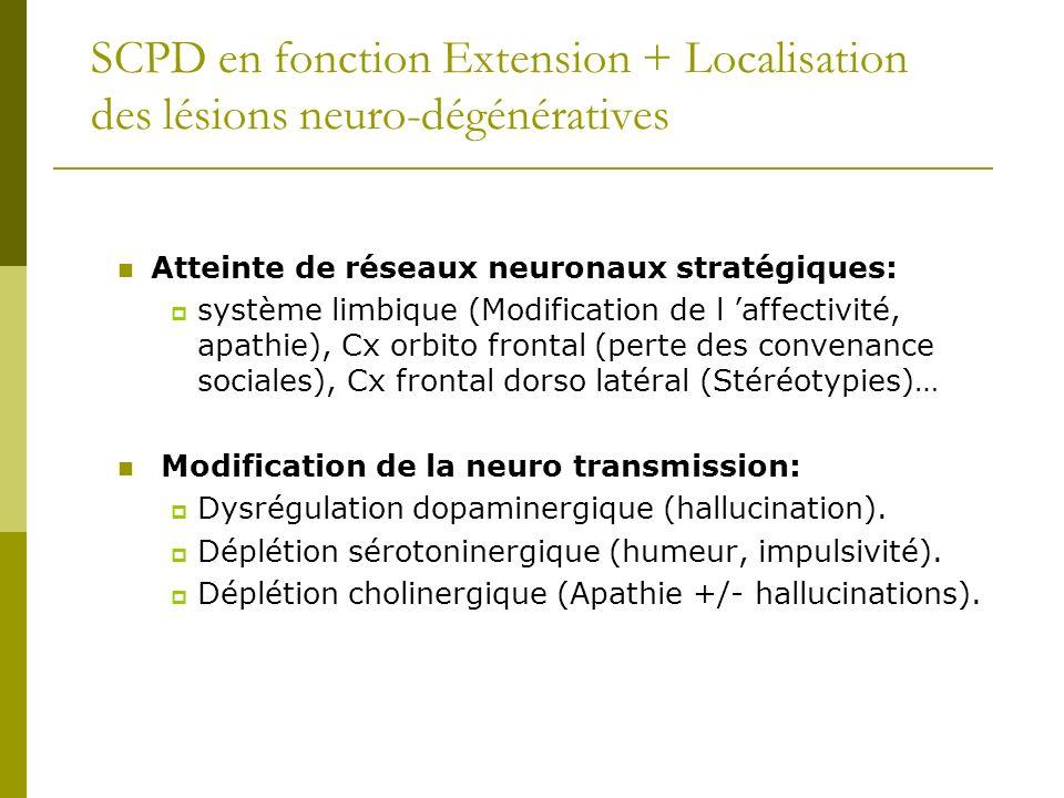 SCPD en fonction Extension + Localisation des lésions neuro-dégénératives Atteinte de réseaux neuronaux stratégiques: système limbique (Modification d