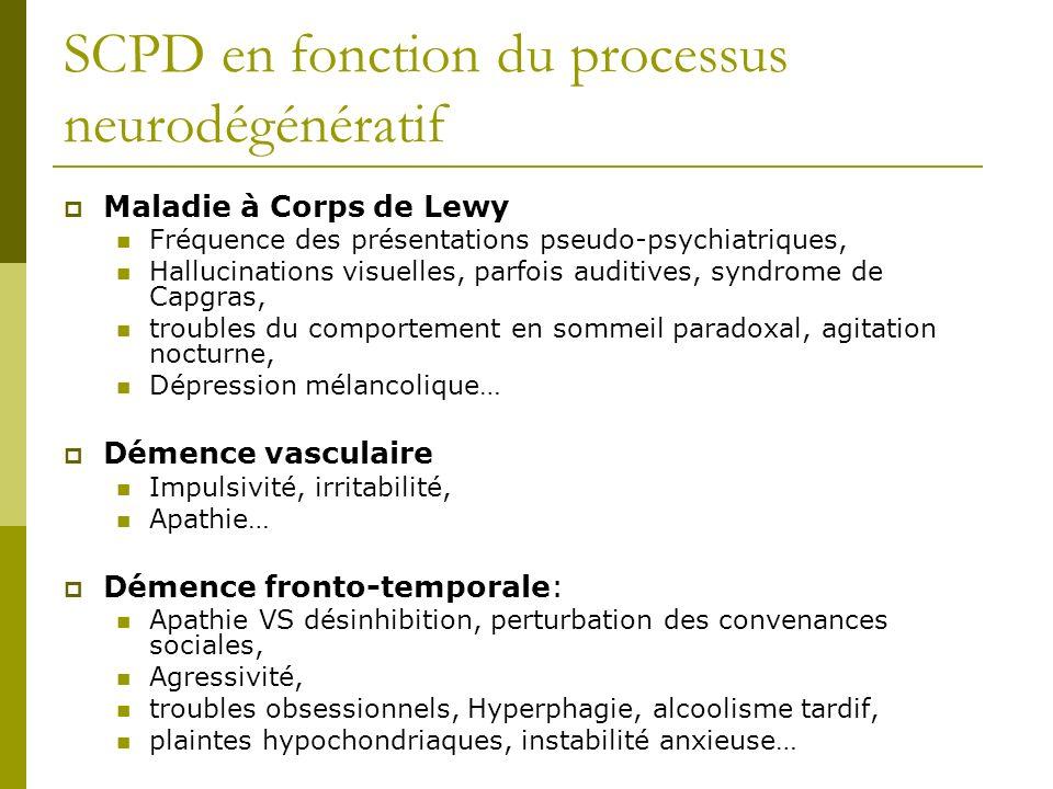SCPD en fonction du processus neurodégénératif Maladie à Corps de Lewy Fréquence des présentations pseudo-psychiatriques, Hallucinations visuelles, pa