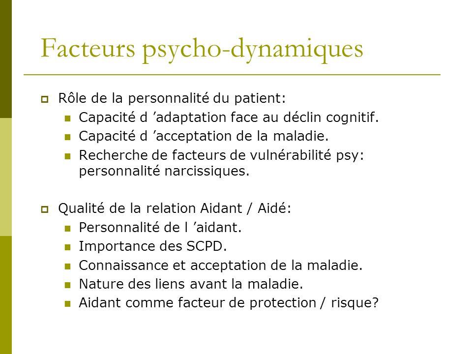 Facteurs psycho-dynamiques Rôle de la personnalité du patient: Capacité d adaptation face au déclin cognitif. Capacité d acceptation de la maladie. Re