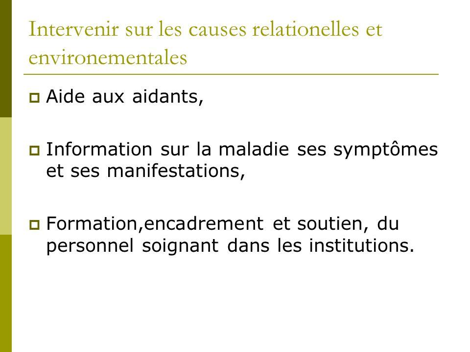 Intervenir sur les causes relationelles et environementales Aide aux aidants, Information sur la maladie ses symptômes et ses manifestations, Formatio