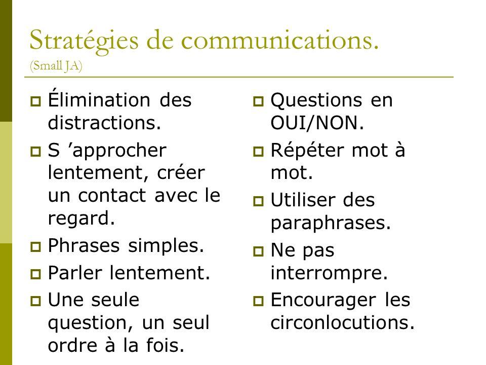 Stratégies de communications. (Small JA) Élimination des distractions. S approcher lentement, créer un contact avec le regard. Phrases simples. Parler