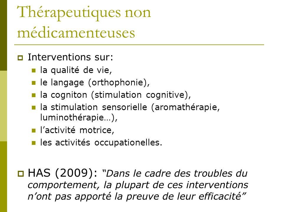 Thérapeutiques non médicamenteuses Interventions sur: la qualité de vie, le langage (orthophonie), la cogniton (stimulation cognitive), la stimulation