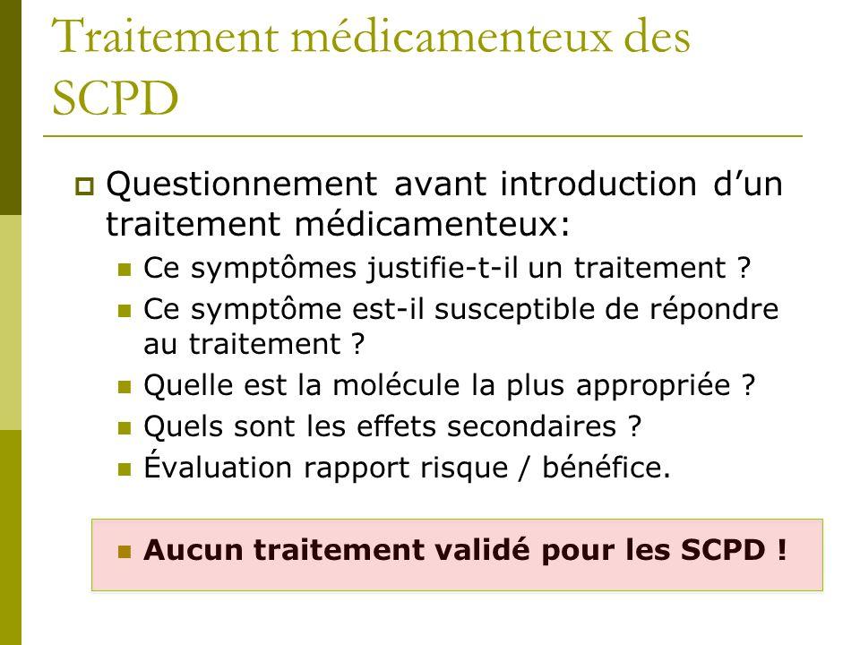 Traitement médicamenteux des SCPD Questionnement avant introduction dun traitement médicamenteux: Ce symptômes justifie-t-il un traitement ? Ce symptô