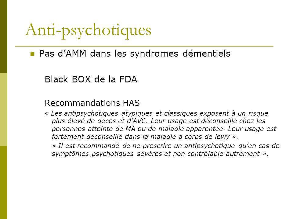 Anti-psychotiques Pas dAMM dans les syndromes démentiels Black BOX de la FDA Recommandations HAS « Les antipsychotiques atypiques et classiques expose