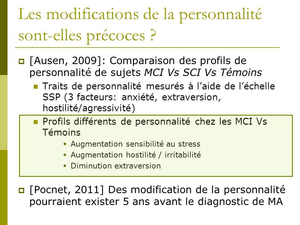 Les modifications de la personnalité sont-elles précoces ? [Ausen, 2009]: Comparaison des profils de personnalité de sujets MCI Vs SCI Vs Témoins Trai
