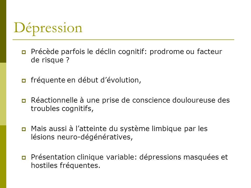 Dépression Précède parfois le déclin cognitif: prodrome ou facteur de risque ? fréquente en début dévolution, Réactionnelle à une prise de conscience
