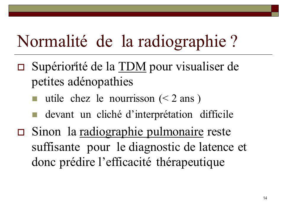 14 Normalité de la radiographie ? Supériorité de la TDM pour visualiser de petites adénopathies utile chez le nourrisson (< 2 ans ) devant un cliché d