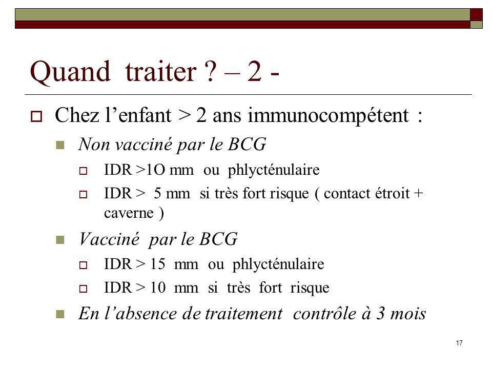 17 Quand traiter ? – 2 - Chez lenfant > 2 ans immunocompétent : Non vacciné par le BCG IDR >1O mm ou phlycténulaire IDR > 5 mm si très fort risque ( c