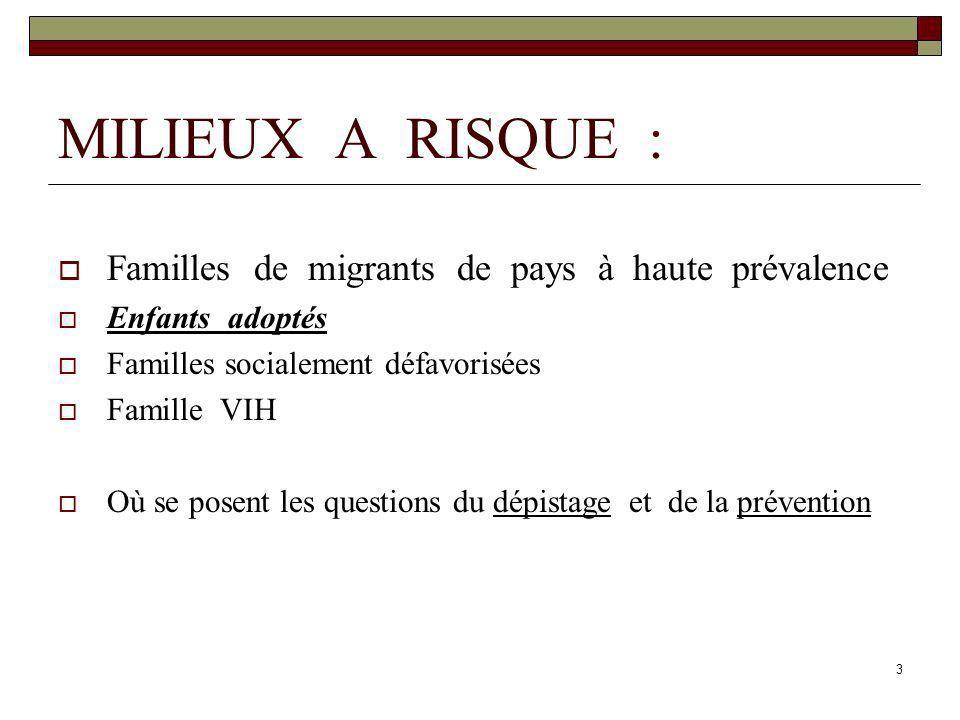 3 MILIEUX A RISQUE : Familles de migrants de pays à haute prévalence Enfants adoptés Familles socialement défavorisées Famille VIH Où se posent les qu