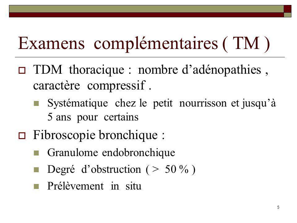 5 Examens complémentaires ( TM ) TDM thoracique : nombre dadénopathies, caractère compressif. Systématique chez le petit nourrisson et jusquà 5 ans po